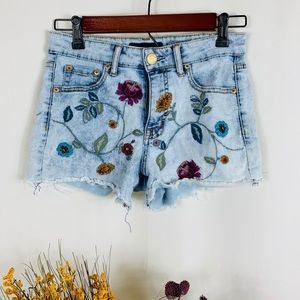 Flower Embroidered Jean Shorts
